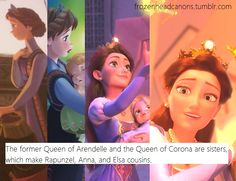 """The former Queen of Arendelle and the Queen of Corona are sisters, which make Rapunzel, Anna, and Elsa cousins."" -Tangled and Frozen Crossover. I guess that could explain why Rapunzel was in Frozen."