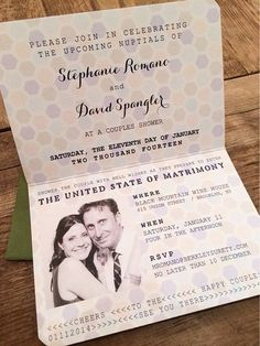 Incredible passport wedding shower invitation by @Brooke Is Far Out Limestone