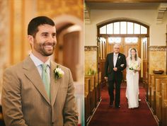 The Groom watches while The Bride walks down the aisle with her father (Michelle Gardella Photography)