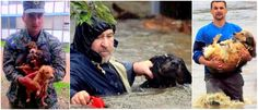 Heroes brave dangerous flood waters in Bosnia-Herzegovina and Sarajevo to save dogs. There is a picture of a very small child up to his armpits in water holding a very small puppy even higher...