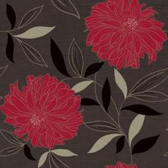 The Wallpaper Company 56 sq. ft. Peony Charcoal/Red Wallpaper-WC1287290 at The Home Depot