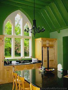 Gothic window over sink