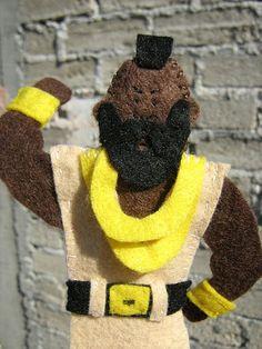 Celebrity finger puppets made from felt - Mr. T.