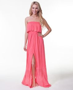 This strapless jersey dress with lace insets, front slit, and ruffle is perfect for any summer day. Check it out at ripcurl.com!