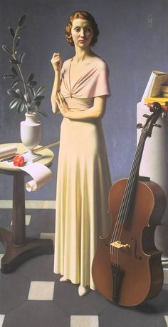 """Portrait of a Young Woman / Meredith Frampton / 1935 / """"Frampton said that he made this painting as 'a relaxation from commissions, and to celebrate an assembly of objects... beautiful in their own right'."""" -- from the Tate"""