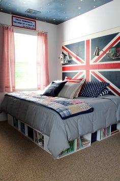 Union Jack Pegboard Headboard adds storage to small bedroom