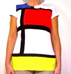 t-shirt refashion diy fabric paint mondrian ysl color block