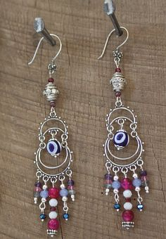 Boho Baby Chandelier Earrings - Handmade Evil Eye Glass Bead with Gems and Silver Bali Beads. SariBlue