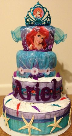 Little mermaid diaper cake (notice the dress towards the top-so cute!)