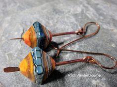 Copper and Lampwork Earrings by PattiVanderbloemen on Etsy, $40.00
