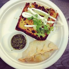 """Corn bread grilled cheese and buffalo empanadas from @comidadelpueblo #tum"" by @OrchardBloom"