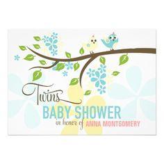 Modern Twins Boys Cute Birds & Flowers Baby Shower