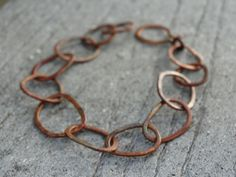 Rustic copper big link bracelet hand forged in pure copper by JoDeneMoneuseJewelry