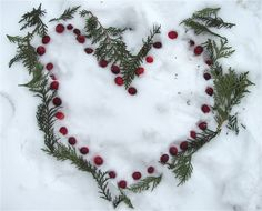 animals, outdoor art, valentine day, snowi heart, muffin tree, snow art, land art, berries, kid