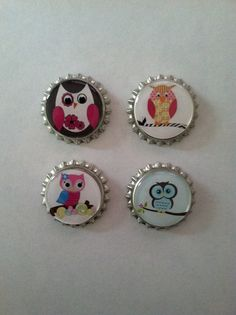 Owl Bottle Cap Magnets  Set of 4 by WhimsyWoodcrafts on Etsy, $4.50