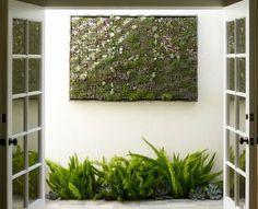 Cantero y jardin vertical en patio interno.