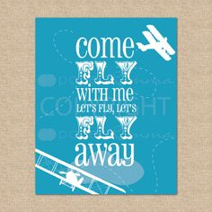 Come Fly with Me... Airplane Art Print - 8x10 - Archival Giclee Art Print for Playroom / Nursery / Child's Room. $20.00, via Etsy.