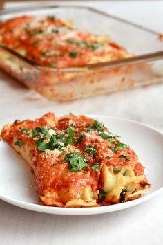 Spicy Italian Chicken Sausage, Spinach and Crepe Manicotti