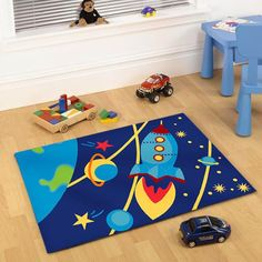 Main product photo of Kids Non Slip Outer Space Rug 150x100cm  http://www.dealsdirect.com.au/kids-non-slip-outer-space-rug-150x100cm/