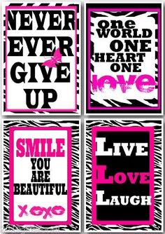 4 hot pink and zebra art print 5 7 Motivational QUOTE girls room wall decor