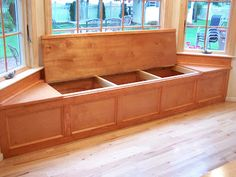 Doing this under the windows with bookshelves underneath instead. Integrity Custom Carpentry: Bay window seat