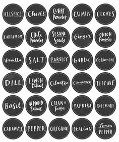 Free printable Spice Jar Labels by @Emily Schoenfeld Schoenfeld Schoenfeld McDowell in a Chalk Board style.