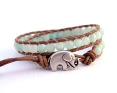 Double wrapped leather braclet with Elephant