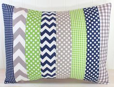 Pillow Cover, Baby Boy Nursery Decor, Patchwork Pillow Cover, Crib Bedding, 12 x 16 Inches, Navy Blue, Gray and Kelly Lime Green Chevron Dot