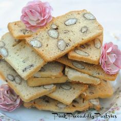 Almond Bread (Biscotti) by Pink Piccadilly Pastries. A type of biscotti that's twice baked--once in loaf form the night before, then again when sliced the next day.