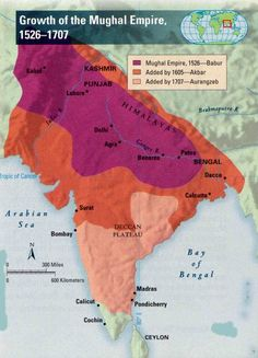 Map: Growth of the Mughal Empire