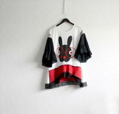 Plus Size 2X Black & White Women's Tunic Bunny Rabbit Upcycled Clothing Loose Fitting Top