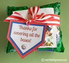 Free printable tag to show a baseball coach appreciation. Attach to Big League gum, peanuts, or Cracker Jacks.