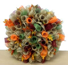 Fall Burlap Deco Mesh Wreath designed by Karen B., A.C. Moore Erie, PA #wreath #fall #decomesh