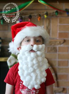 cotton ball kids craft santa beard
