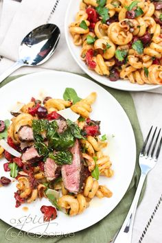 YES PLEASE. Pasta Puttanesca with New York Strips and Crispy Basil from @Niki Sommer   A Spicy Perspective