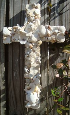 Seashell cross on reclaimed wood by MyHoneypickles on Etsy, $65.00