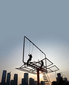 swing set made out of advertisement billboard :)