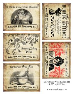 Antique Christmas Potion Wine Labels - on etsy