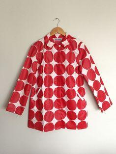 NWOT Marimekko / Anthropologie red and white polka dot raincoat, size 6 #Marimekko #Raincoat