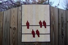 """""""BIRDS ON A WIRE""""    Wall Hanging. Project from the book """"Quilts Made Modern"""" by Weeks Ringle & Bill Kerr.  Machine Pieced, Machine Applique, Free Motion Quilting.  20"""" x 27"""".  QUILTS BY MARISELA"""