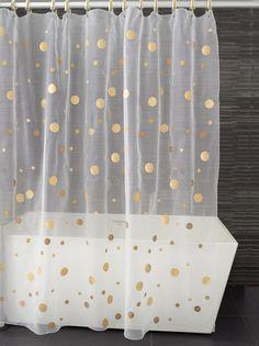 bathroom design, showers, idea, bathroom interior design, polka dots, decorating bathrooms, dot shower, gold dot, shower curtains