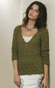 Destinations top-down knit raglan pullover.