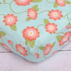 Coral Floral Crib Sh