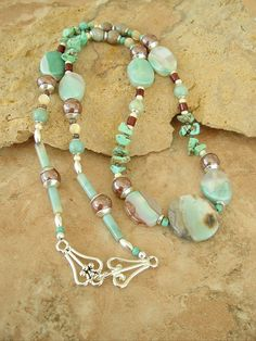 Boho Necklace Mint Necklace Mint Green Agate Stone by BohoStyleMe