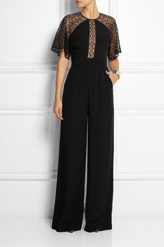 Temperley London|Folk lace-paneled crepe jumpsuit|NET-A-PORTER.COM