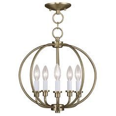 Lend a touch of classic elegance to your foyer or dining room with this lovely pendant, showcasing 5 candlestick-inspired lights and an antique brass finish....