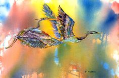 By Nancy Melton.  Herons in flight.  This is watercolor and collage using oriental papers.
