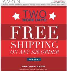 Avon Free Shipping on any $20 Online Order - use code: JULY4FS at http://eseagren.avonrepresentative.com #avon #freeshipping #coupon