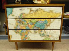 Dresser or filing cabinet makeover with map, I like the map part with an actual filing cabinet..