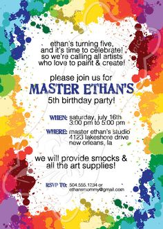 Paint splatters art party birthday invitation
